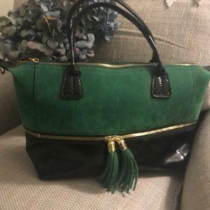 Purse RELIC emerald green suede & black